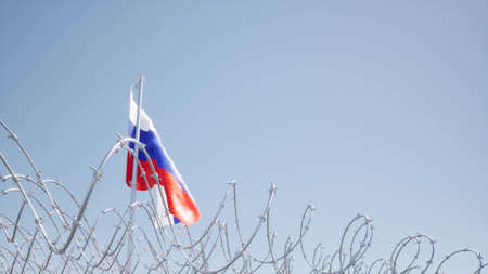 Flag Russian waving on blue sky barbed wire Concept liberty censor 3d render