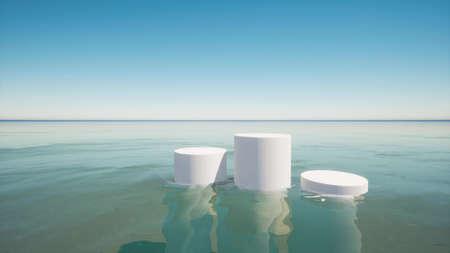 3d podium blue water empty clean mockup scene 3d render