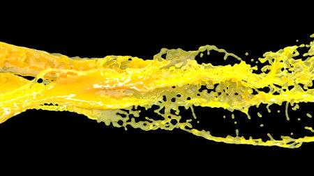 Yellow orange juice on black Fresh nature Liquid splash Healthy food 3d render