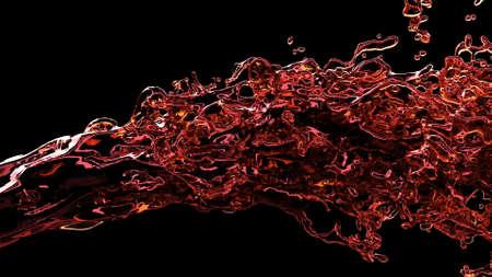 Red liquid stream jet in 3d style on black background Liquid splash Water texture super slow motion 1000fps 3d render Foto de archivo