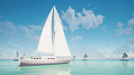 Sailboats on the sea Aerial view Beautiful Nature ocean background 3d render