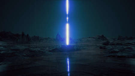Night rain Futuristic architecture another planet sci-fi landscape al ula saudi UFO 3d render