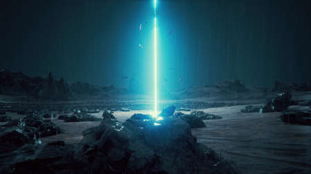 Rain Futuristic sci-fi landscape Space surface neon laser fish 3d render