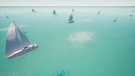 Sport Sailing regatta on the blue clear ocean 3d render Foto de archivo