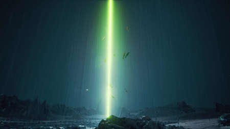 Rain night Sci-fi landscape alien planet neon laser school of fish 3d render