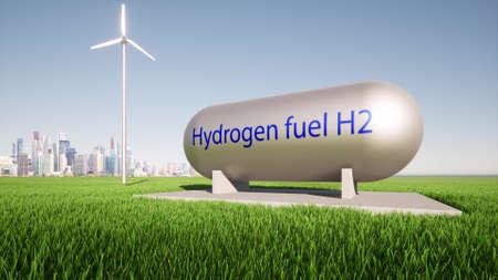 Hydrogen fuel tank vehicle concept renewable Energy storage system Power electric plant Futuristic technology 3d render