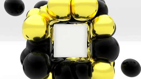 Soft body physics gold black elastic sphere collider on glass box empty mockup scene 3d render