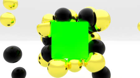 Gold black soft body sphere collide on green box 3d stylish minimalistic cover 3d render