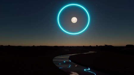 Sci fi landscape Space futuristic planet Future digital technology neon circle 3d render