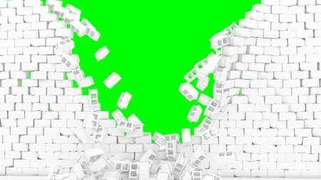 Wall destroy in 3d style on green background Crash stone brick demolition concept 3d render