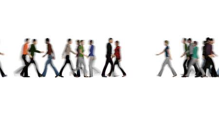 Blur crowd people for lifestyle design Business Urban person. Outdoor walking 3d render Foto de archivo
