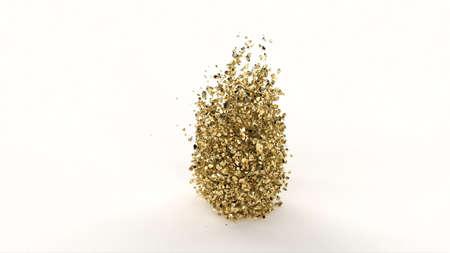Gold pieces Clash of golden stones Concept art 3d style 3d render Foto de archivo