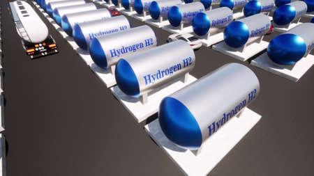 Hydrogen renewable facility fuel tank H2 Sustainable energy 3d render Foto de archivo