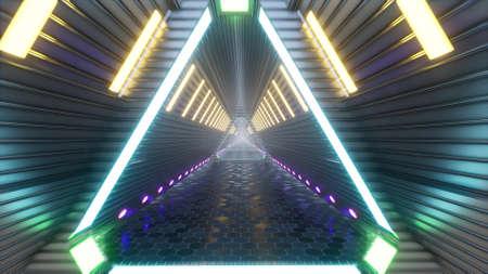 Futuristic glow Tunnel corridor light neon techno cyber space 3d render Foto de archivo