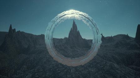 Fantasy 3d sci fi rock landscape portal technology 3d render