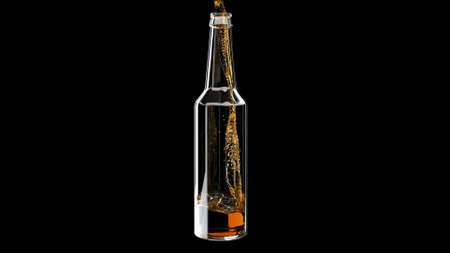 Alcohol liquid beer pours into glass bottle on black 3d render