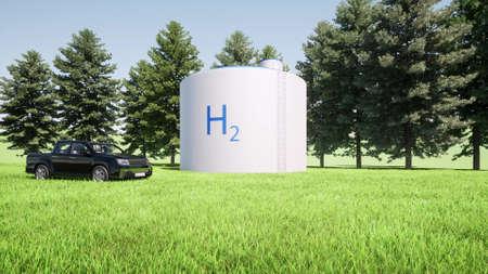 H2 Modern hydrogen filling station Alternative energy concept Sustainable power eco 3d render