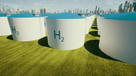 H2 Ecological future Eco business hydrogen filling station big tanks 3d render