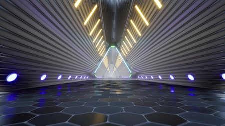 Neon metal techno futuristic tunnel digital corridor electro led 3d render