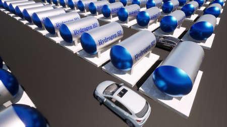 Green hydrogen H2 stations in modern 3d style Ecological future technology concept 3d render Foto de archivo