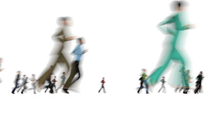 Blurred Crowd people Outdoor run in one direction City life 3d render Foto de archivo