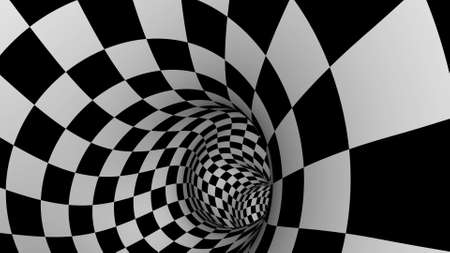 White black Checkers endless tunnel style 3d render