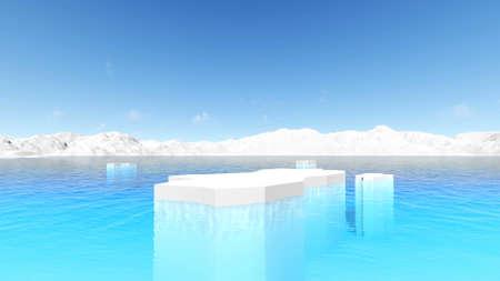 Icebergs Antarctic ocean environment Panorama landscape Global warming Antarctica melting blue water iceberg 3d render Foto de archivo