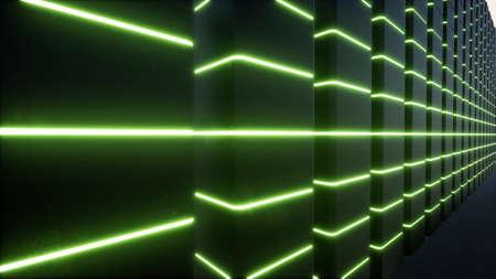 Ar technology data center Digital design concept Augmented reality vr software green led 3d render Foto de archivo