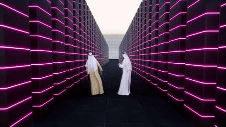 African muslim at work arabs scientists Modern datacenter big Data concept 3d render