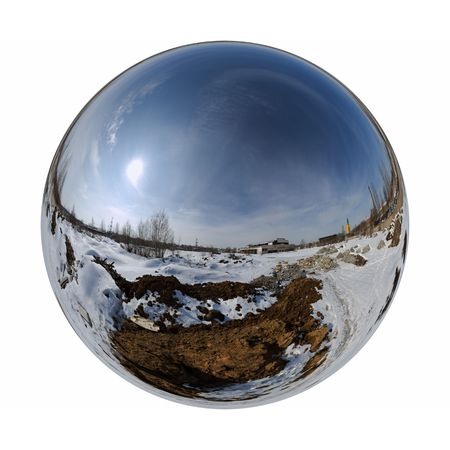 Mirror ball winter outdoor Фото со стока