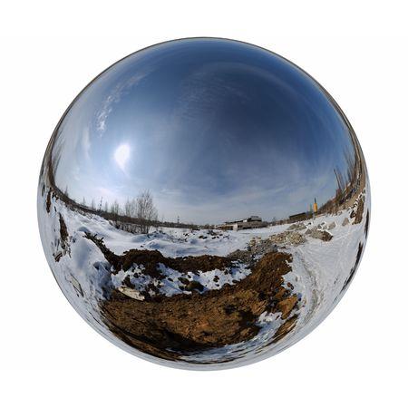 Mirror ball winter outdoor 版權商用圖片