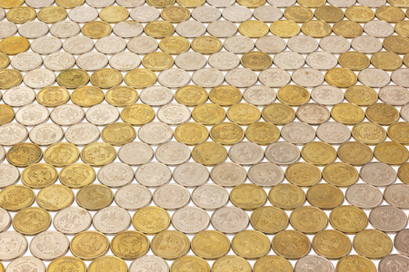 One russian rubl coins flat tile background with perspective on white background.