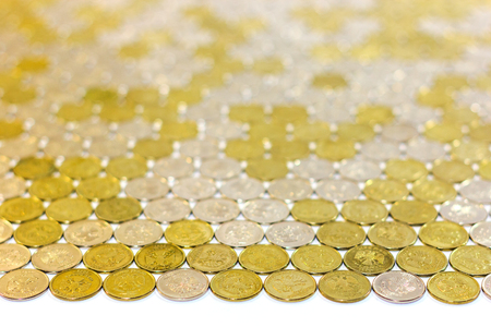 One russian rubl coins flat tile background with selective focus and perspective. Imagens