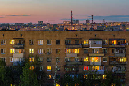 night russian city living house with citysczpe background