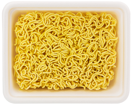 uncooked instant noodle in rectangular cup Stock Photo