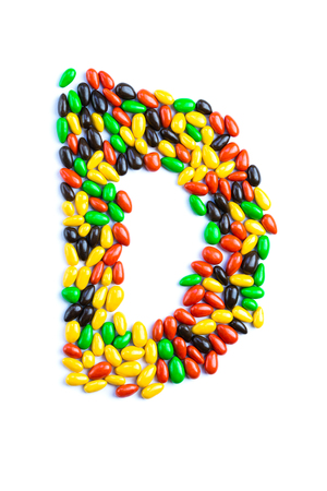 D Letter of alphabet made of candy isolated on white background