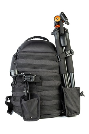Black professional tactical molle black photo backpack with trip