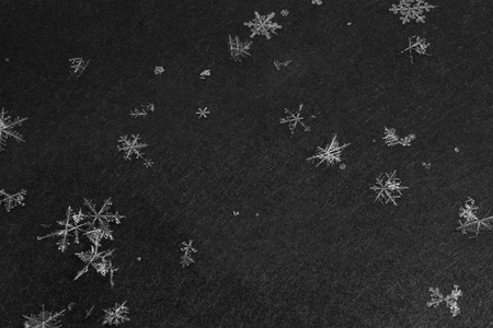 snowflakes with high magnification on dark gray background