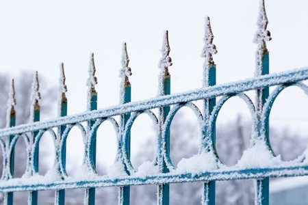 frosty iron fence with selective focus at daylight