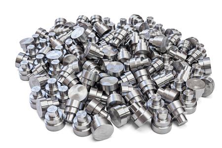 batch of shiny steel cnc turned parts isolated on white background