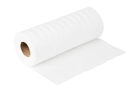 White rolled viscose towel and wipe isolated on white background