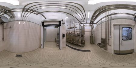 TULA, RUSSIA - FEBRUARY 11, 2013: Inside of food factory laboratory spherical panorama in equirectangular projection.