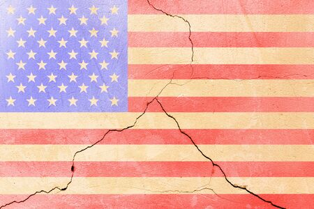 USA flag painted on cracked wall after earthquake disaster - flat texture.