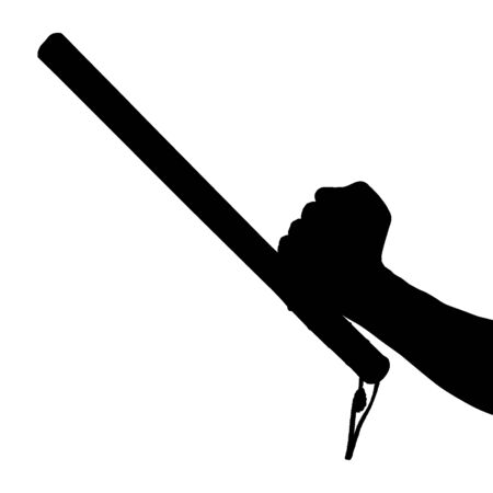 a black and white silhouette of bare hand with rubber police baton isolated on white background.