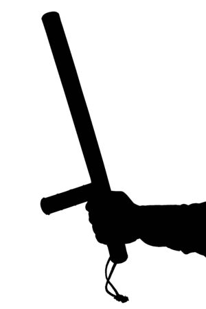 a black and white silhouette of hand in shirt with rubber police baton isolated on white background.