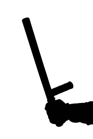 a black and white silhouette of hand in shirt with rubber police baton isolated on white background Imagens - 130491495