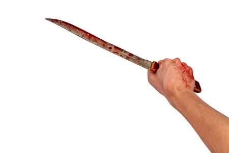 human hand holding old long bloody kitchen knife isolated on white background