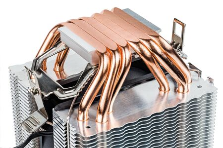 A bottom of modern tower-type heat radiator with six copper heatpipes isolated on white background. Contact surface made by mill.