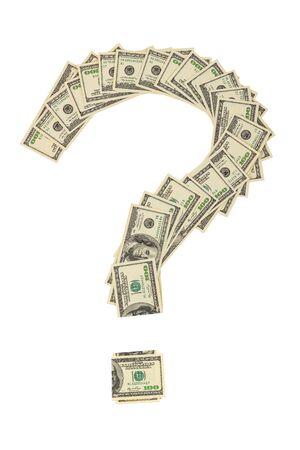 Signo de interrogación hecho de billetes de cien dólares estadounidenses aislado sobre fondo blanco. Foto de archivo