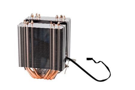 chinese noname tower-type cpu cooler with six copper heatpipes isolated on white background.